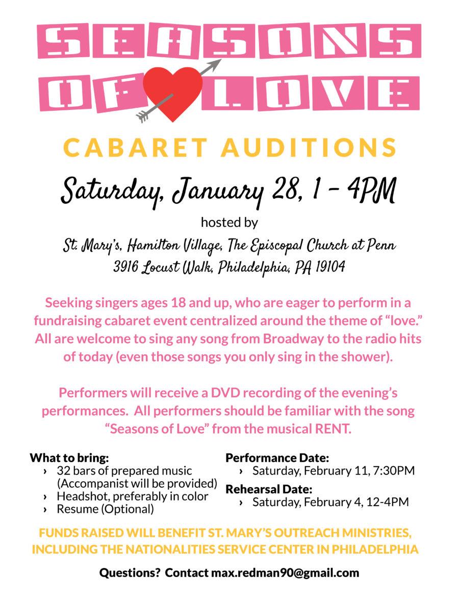 Seasons Of Love Cabaret Auditions St Mary S Hamilton Village